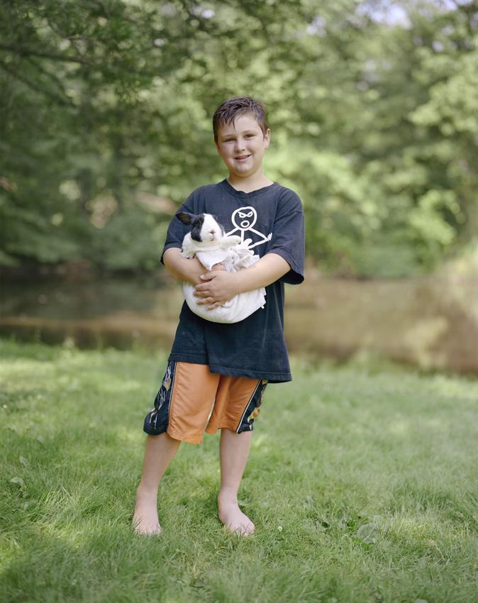 Judith Joy Ross, Corey with bunny, Wildlife Camp, The Aark Foundation Wildlife Rehabilitation and Education Center, Chalfont, Pennsylvania, 2011