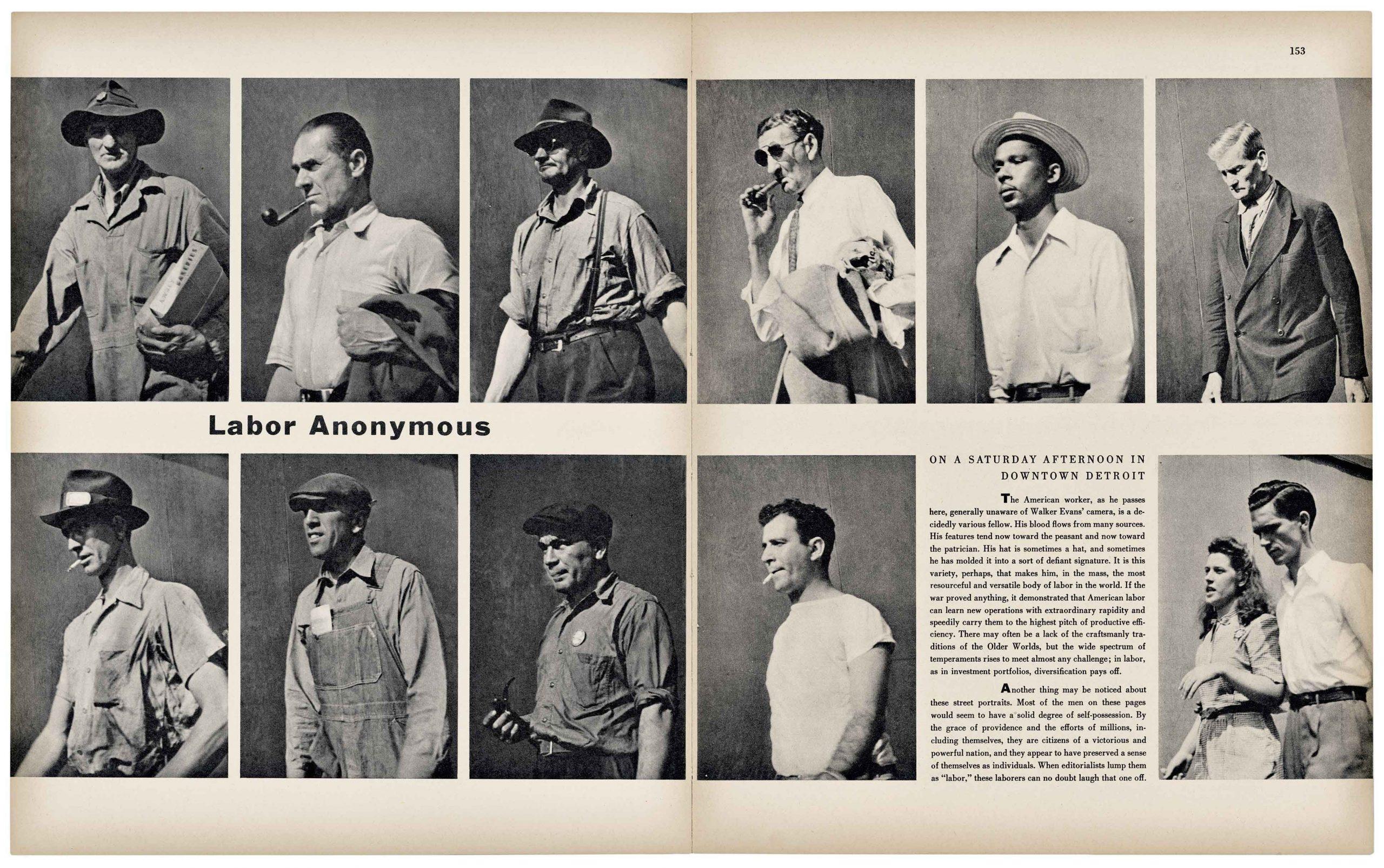 Walker Evans, Labor Anonymous, Fortune, November 1946